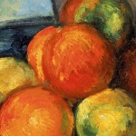 "Cezanne, ""Fruit and Jug on Table"" Detail (1890-94)."