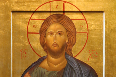 Chantal Heinegg, Christ Pantocrator, Egg tempera and 22k gold leaf on birch panel. Icon of Christ the Savor, based on a 12th century Byzantine prototype.
