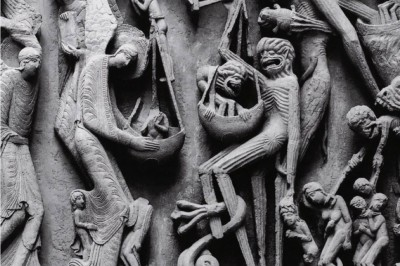 """The weighing of souls,"" detail from a Last Judgment tympanum at Autun Cathedral (Burgundy, France), c. 1130."