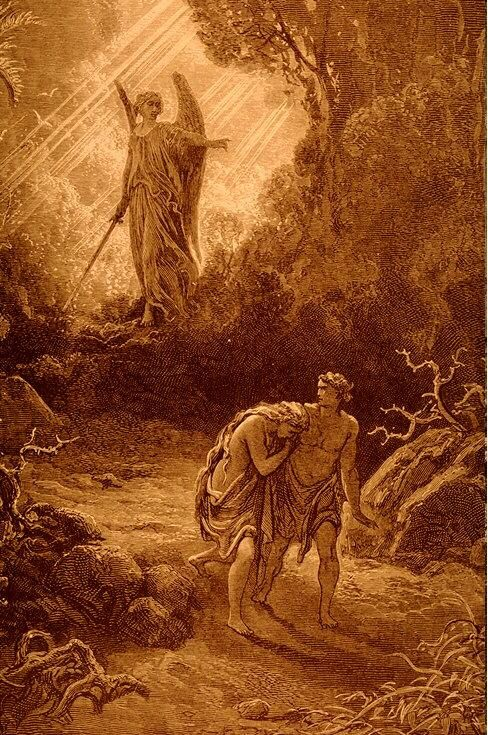 Gustave Doré, Adam and Eve Driven out of Eden, engraving, 1865