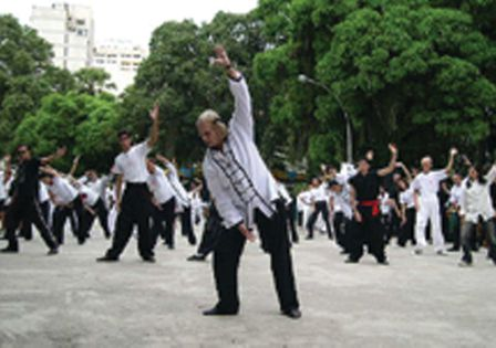 Qigong practioners in Rio de Janero, Brazil