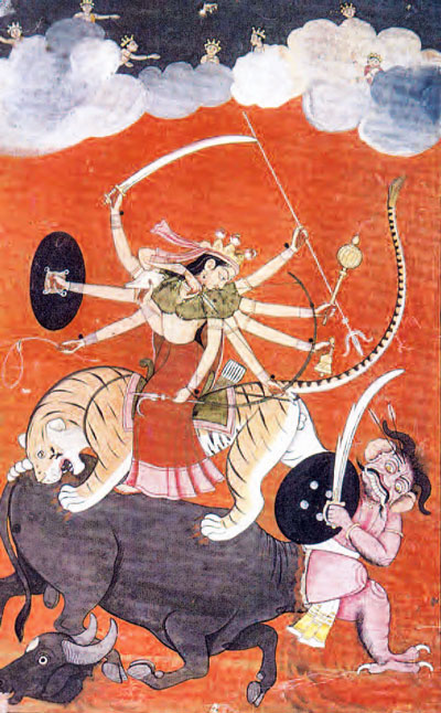 The Hindu Godess Durga Killing the Buffalo-Demon, Unknown Artist, 18th Century