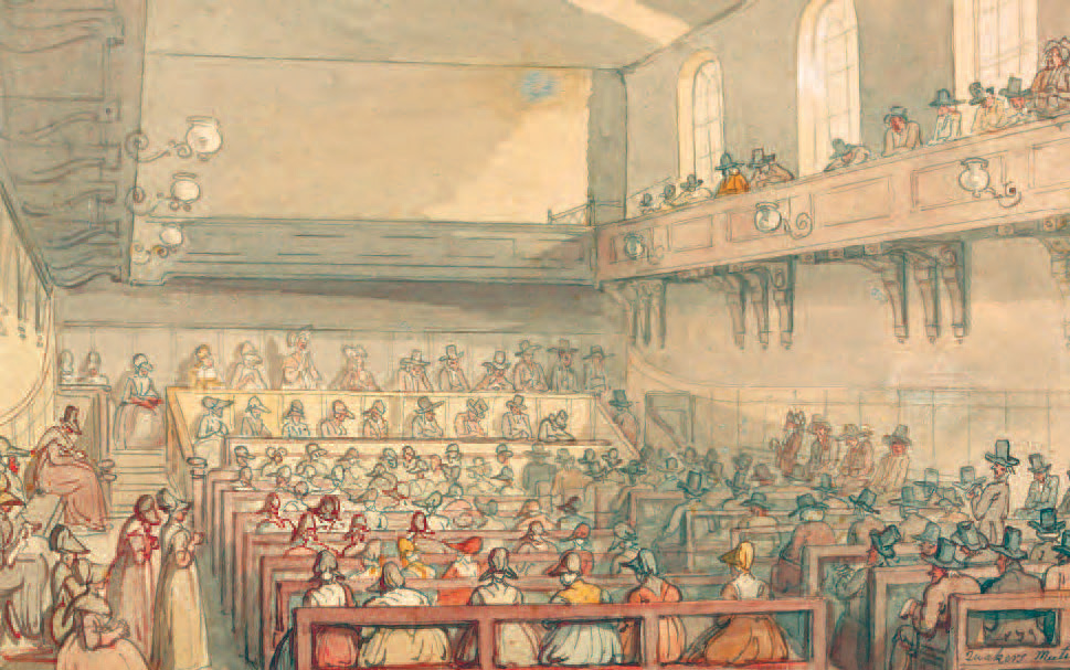 Quakers' Meeting, Thomas Rowlandson, c.1810, Yale Center for British Art