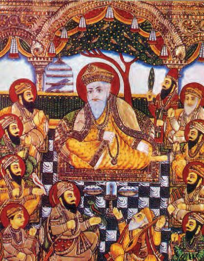 Ten Sikh gurus with Bhai Bala and Bhai Mardana, nineteenth century