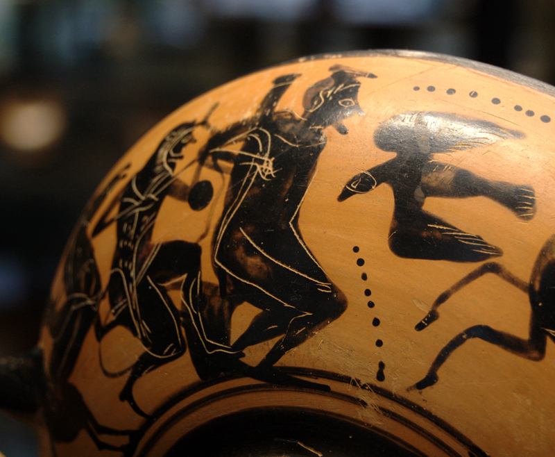 Heracles freeing Prometheus from his torment by the eagle (Attic black-figure cup, c. 500 BC)