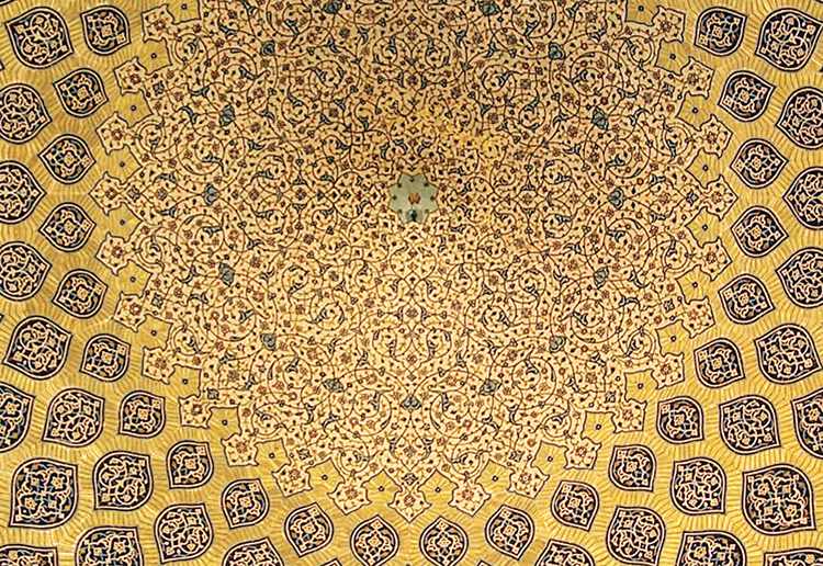 Ceiling of the Sheikh-Lotf-Allah mosque in Isfahan, Iran, 2008. Photo by Phillip Maiwald