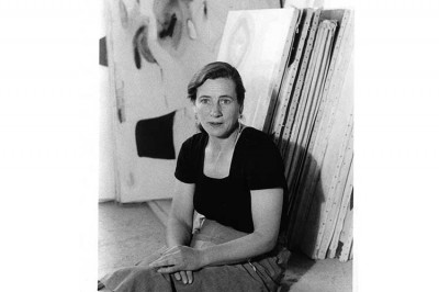 Agnes Martin in her studio on Ledoux Street, Taos, New Mexico, (1953) (photo by Mildred Tolbert