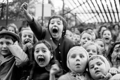 """Alfred Eisenstaedt, """"Children at a Puppet Theatre,"""" Paris, 1963"""