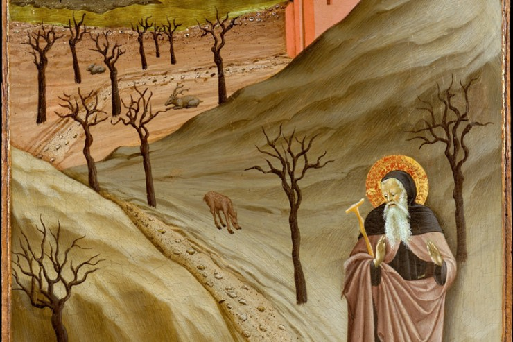 'Saint Anthony Abbot Tempted by a Heap of Gold', Tempera on panel painting by the Master of the Osservanza Triptych, ca. 1435, Metropolitan Museum of Art