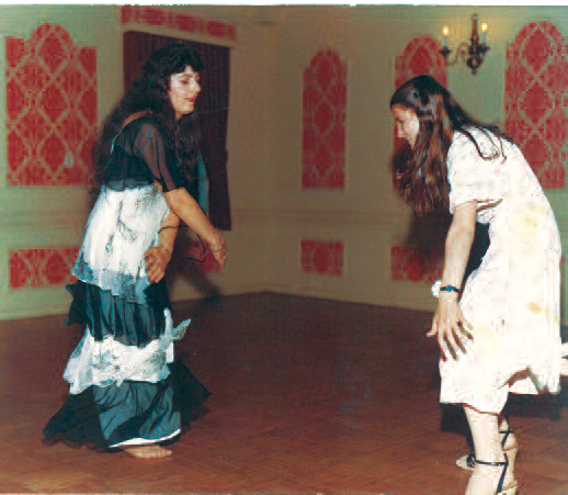 Xharije (I.) and the author dancing at a wedding, 1979