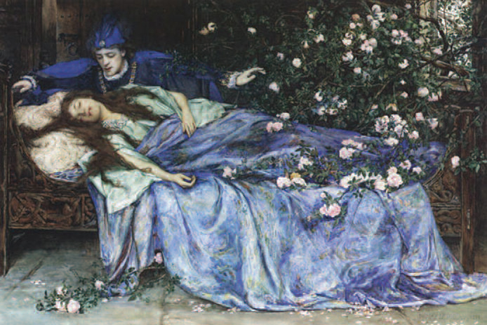 Sleeping Beauty. Henry Meynell Rheam, pencil and watercolor, 1899