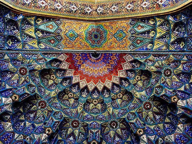 Ceramic Tile Ceiling, Shah Chirag, Tomb of Amir Ahmad Shrine at Shiraz, Fars Province, Iran, 14th c.