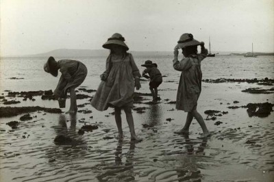 Photograph: Girls exploring rock pools, Cameron Bay by State Library of Victoria Collections, 1909