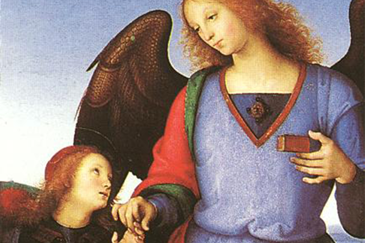 Tobias and the Angel, detail of painting by Raphael. National Gallery, London. From Peter Lamborn Wilson, Angels (London: Thames and Hudson, 1980).