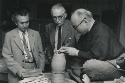 Hamada, Leach and Yanagi in the United States, probably Hawaii, in 1952