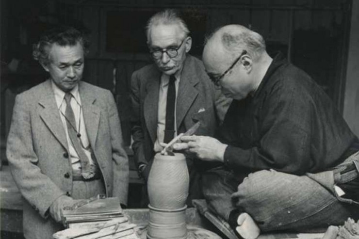 Hamada, Leach and Yanagi in the United States, probably Hawaii, in 1952