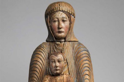 Virgin and Child in Majesty, 1150–1200, Made in Auvergne, Walnut with paint, gesso, and linen