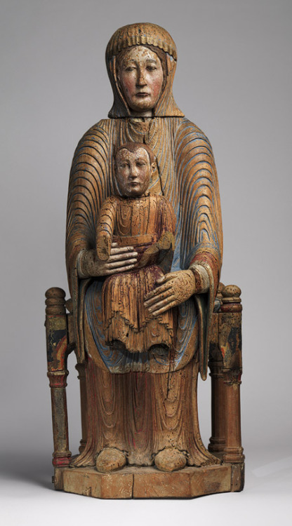 Image: Virgin and Child in Majesty, 1150–1200, Made in Auvergne, Walnut with paint, gesso, and linen