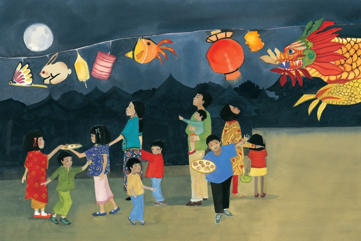 """Illustration by Julia Cairns for """"A Full Moon Is Rising"""" by Marilyn Singer (Lee & Low Books, 2011)"""