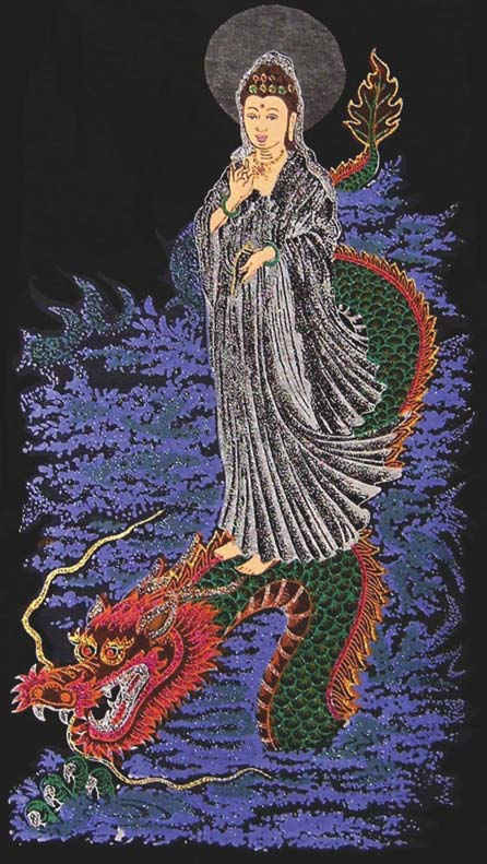 Kuan Yin as a sea goddess; from her flask pour the waters of compassion