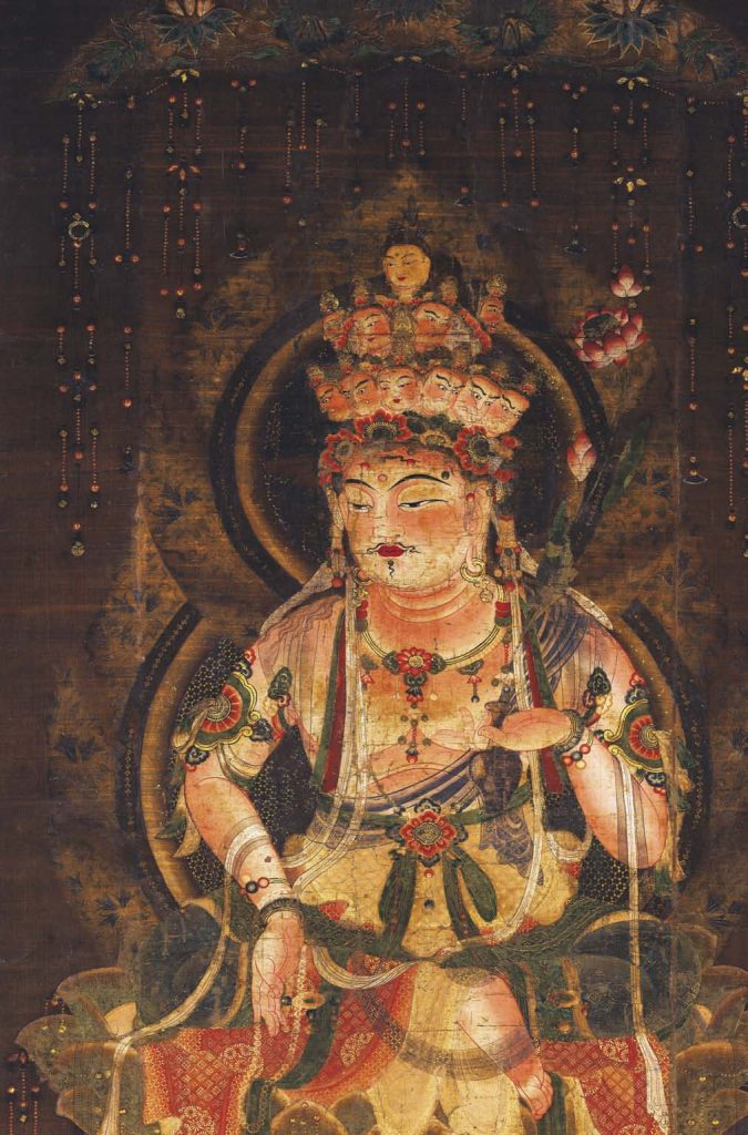 Guanyin as an eleven-faced male bodhisattva Japan, twelfth century