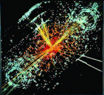 Higgs event created by collision of two protons at CERN, Switzerland
