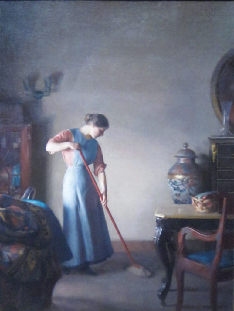 Girl Sweeping. William McGregor Paxton, 1912. Pennsylvania Academy of the Fine Arts