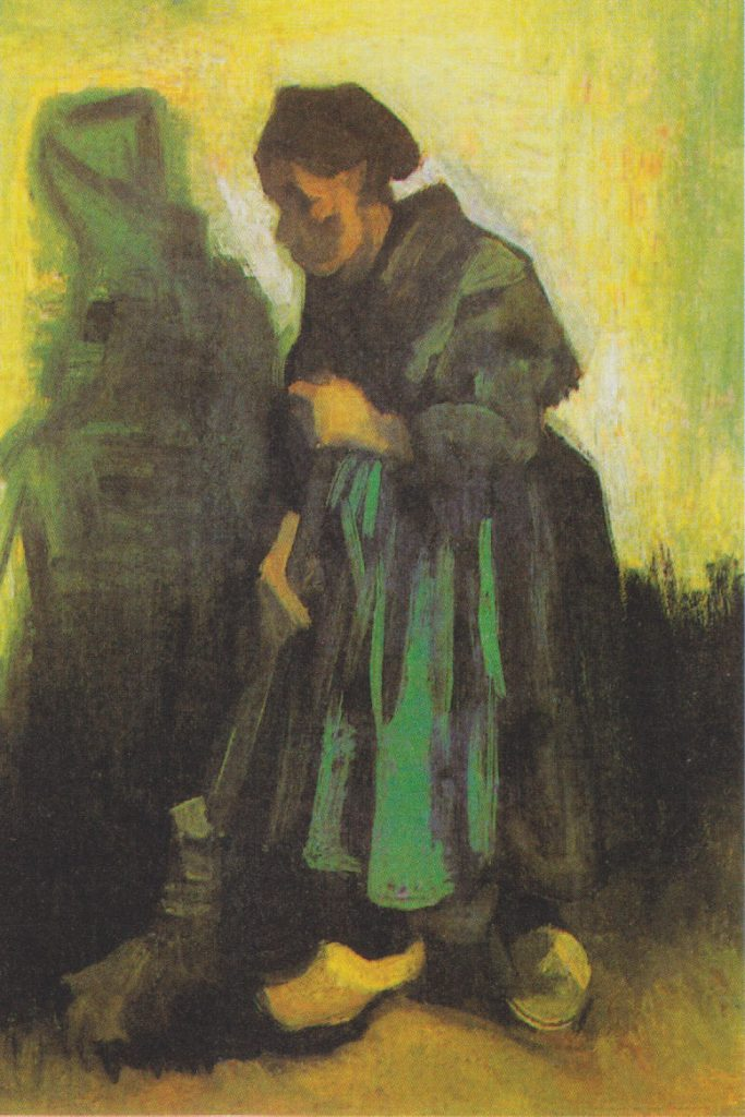 Peasant Woman Sweeping the Floor. Vincent van Gogh, 1885. Oil on canvas on wood. Kröller-Müller Museum, Otterlo, Netherlands