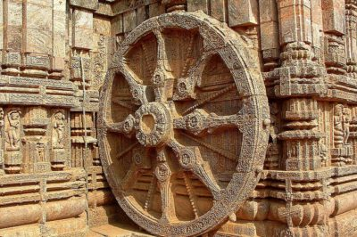 The Wheel of Konark. The Sun Temple at Konark, Orissa built in the 13th century, is one of the most famous monuments of stone sculpture in the world.
