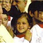 Pope John Paul II with altar girls. Photograph by Kurt20008